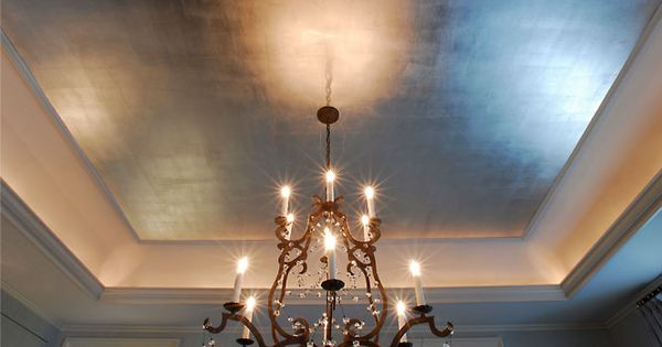 I Particularly Love Ceilings In Metallic Finishes Where A Glow Is Cast From Light Fixtures Powder Rooms Or Dining Room Ceiling Ceiling Design Painted Ceiling