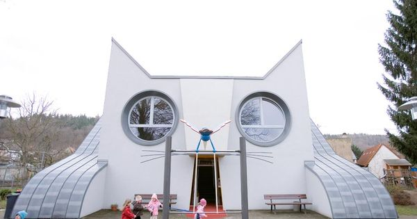 Kitty Shaped Kindergarten in Karlsruhe, Germany. Designed by artist Tomi Ungerer in