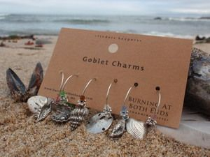 """/""""BEAUTIFUL  SEA SHELLS/'/' SET OF 6  HAND CRAFTED wine glass drink markers"""