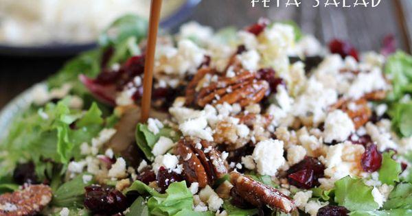 Candied Pecan, Craisin, Feta Salad with Creamy Balsamic Vinaigrette... Looks like a