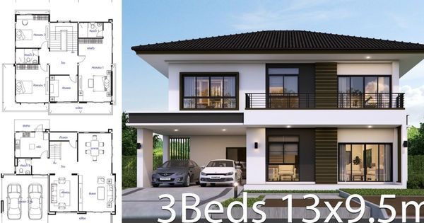 House Design Plan 13 9 5m With 3 Bedrooms Home Design Plans Bedroom House Plans House Architecture Design
