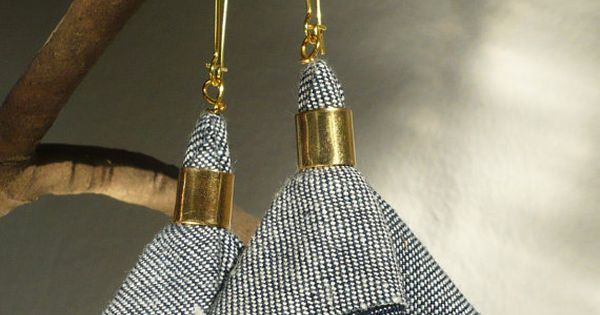 Fashion elegant urban dangle denim earrings. Blue jeans textile, gold colored hooks.