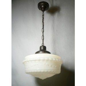 Beautiful Antique Pendant Light Fixture With Original Milk