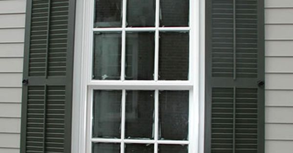 black shutter wgrey and white trim love the thick window trim and real
