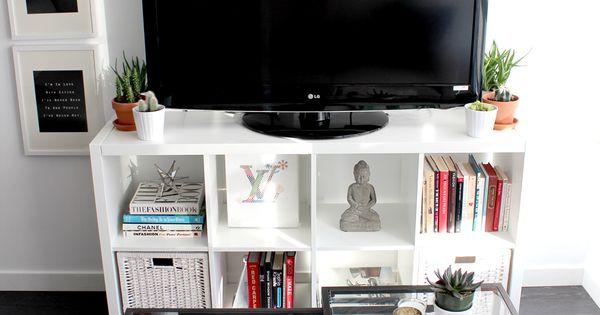 Estanter a kallax de ikea como mueble de tv deco y - Mueble televisor ikea ...