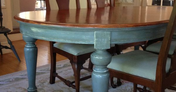Dining room table painted with annie sloan chalk paint in for Duck egg dining room ideas