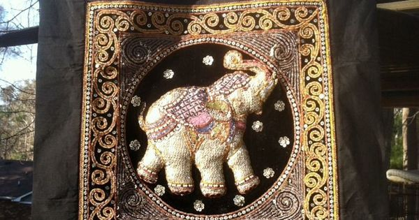 Elephant Tapestry With Beads And Sequins Wall Hanging Thai