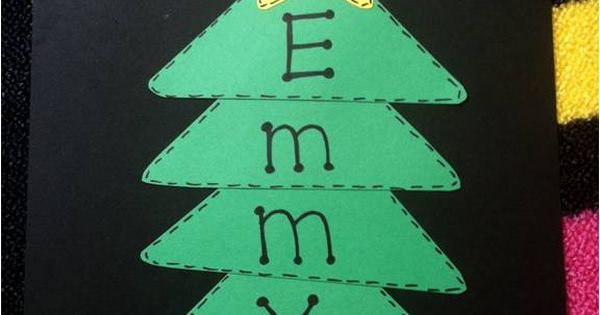 One triangle for each letter in a childs name. Winter Craft Ideas.