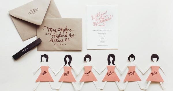 DIY paper doll bridesmaids cards. Such a sweet, simple, and cuuuuute idea!