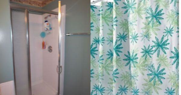 Replaced Shower Door With Stall Shower Curtain Stall Shower Curtain