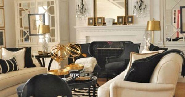 Cream black gold living room furniture decor for Black gold and cream living room ideas