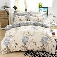 Lightweight Microfiber Duvet Cover Set Floral Pattern Design No Filling Contain 1 Quilt Cover 2 Pillowcase Wish Retro Bed Twin Bed Sets Bedding Sets