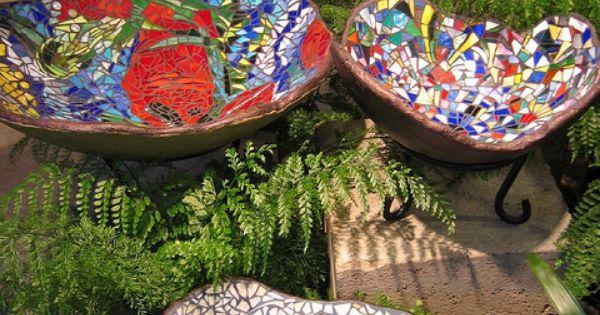 Mosaic Birdbaths mosaic art