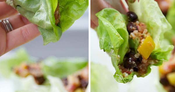 Keep Your Diet Real: Quinoa, Black Bean and Avocado Lettuce Wraps