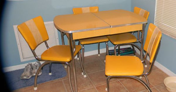 Vintage 1950 S Chrome Yellow Formica Kitchen Table 4