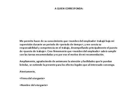 Trabajo Personal Trabajo Formato De Carta De Recomendacion Carta De Recomendacion Cartas De Recomendacion Formato De Carta