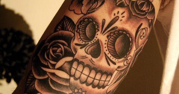 flower skull tattoo | Skulls and Flowers Tattoo Video