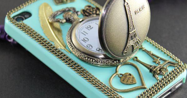 Eiffel Tower Pocket Watch ,love heart ,golden feather, flower,light green hard case