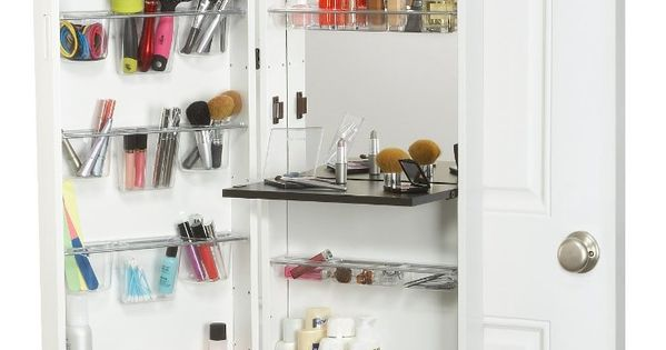 Over The Door Hanging Cosmetic Organizer With Mirror A