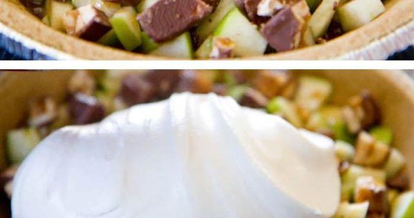 Snicker caramel apple pie. Snickers, green apples, cool whip, cream cheese, eagle