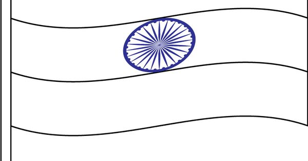 Indian Flag Coloring Page: Blank Indian Flag To Color
