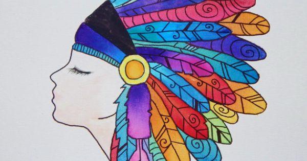 Native American Indian Headdress 12x12 By Myhappyheartart