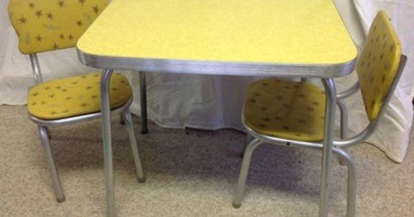 Antique vintage childrens kids folding metal table and chair – Vintage Kids Table and Chairs