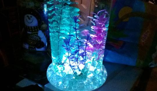 5 to 10 dollar glass vase from walmart stones and glow for Glow in the dark fish walmart
