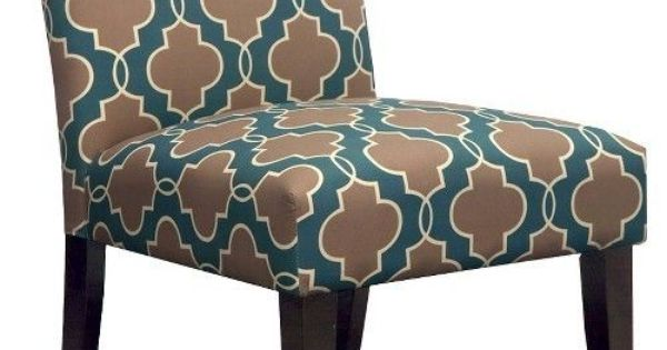 Avington Armless Slipper Chair Geometric Teal Master