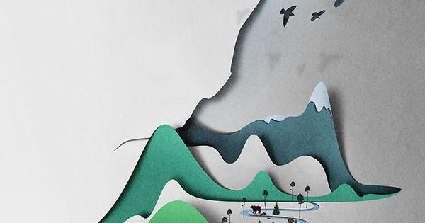 Vertical landscape paper art by Eiko Ojala wallartroad paperart