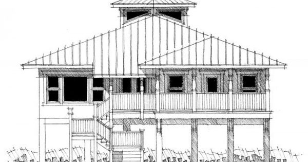 Beach house plans on pilings house plan dt0067 sea for Piling house plans