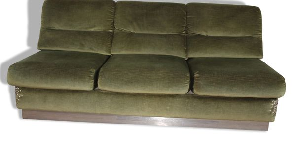 banquette velours vert ann es 70 tissu bon tat vintage 14201 banquette velours et. Black Bedroom Furniture Sets. Home Design Ideas