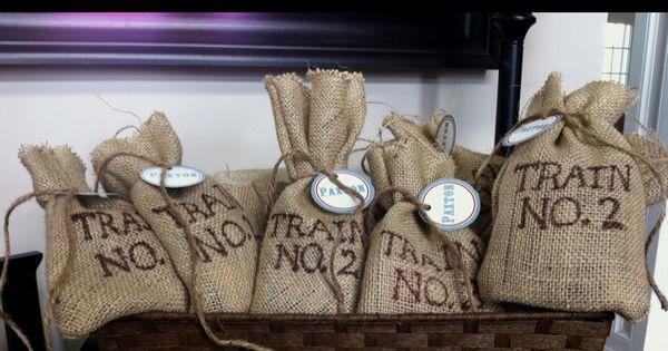 Burlap favor bags for train-themed birthday party. idea?.