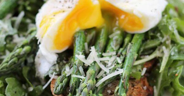 Arugula salad, Asparagus and Poached eggs on Pinterest