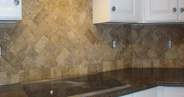 travertine herringbone backsplash remodeling ideas
