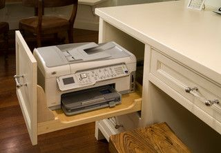 If You Have To Have The Office In The Kitchen At Least Hide The Printer Fax Roger Turk Northlight Photogr Diy Computer Desk Home Office Decor Printer Storage