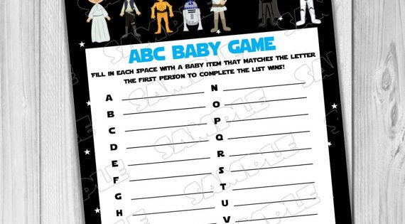 starwars baby shower games star wars abc baby game printable instant