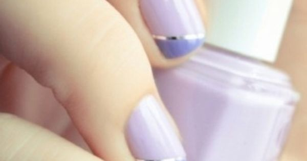 Two color colour nail art: lilac and violet purple with silver line