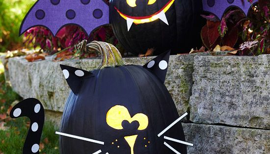 Halloween Pumpkins: Black Cat and Bat Painted Pumpkins