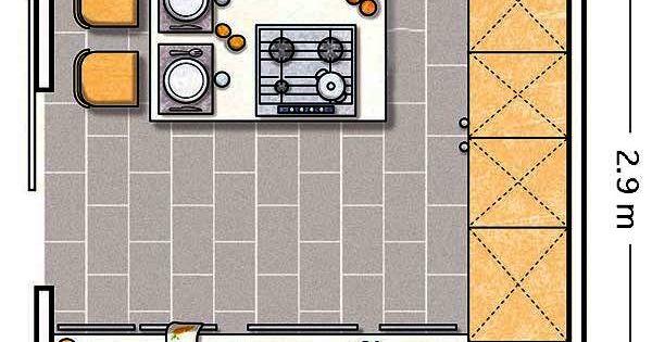 Doce cocinas con barra y sus planos cocina cuadrada - Cocina cuadrada distribucion ...