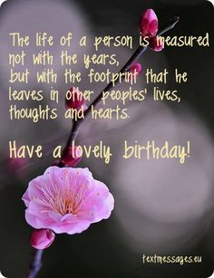 Image with flower and inspirational birthday greeting ...