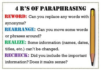 4 R S Of Paraphrasing Poster Paraphrase English Writing Skill Biography Lesson Simple Tool