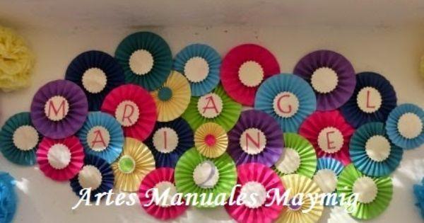 Fiesta de b ho decoraci n con abanicos o rosetas de papel for Decoracion con abanicos