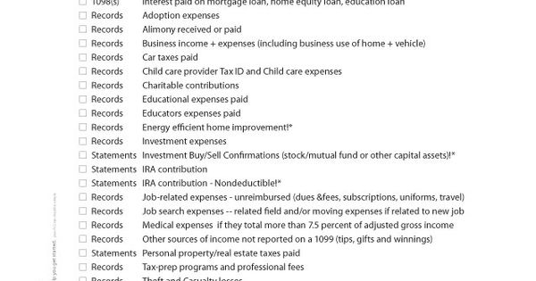 Tax Prep Checklist Printable Diy Paper Amp Digital