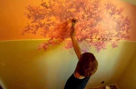 Quick cherry blossom mural joe mural joe pinterest for Mural joe painting