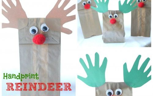 Handprint Reindeer Puppets - craft for kids party