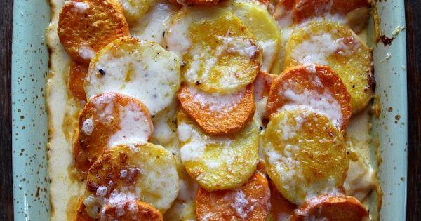 Pumpkin Scalloped Potatoes: Yams and Yukon Gold potatoes layered with pumpkin cream