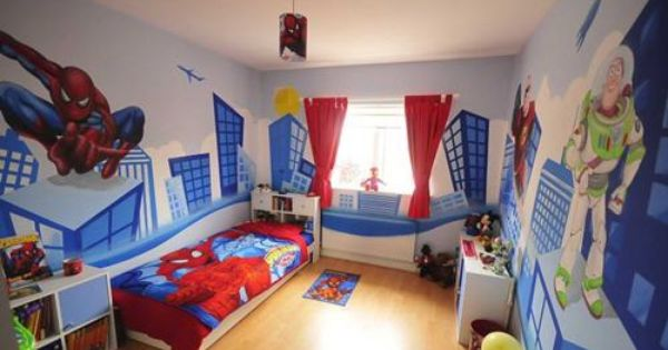 Best Wall Border Ideas For Boys Room Spiderman And Buzz Light Year Room Mural For Kids Room Decor 640 x 480