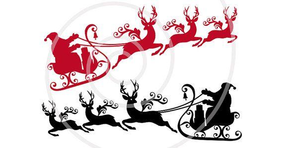 Santa Svg Santa Claus With Reindeer And His Sleigh Printable Etsy Printable Christmas Cards Christmas Printables Silhouette Christmas