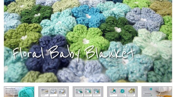 Nouveau-né Crochet Pattern - Floral modèle de couverture de bébé - dessin